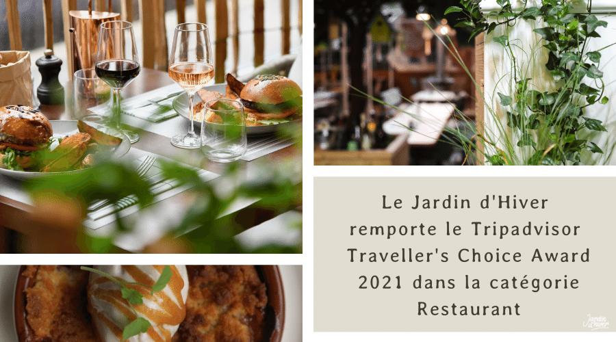 Le Jardin d'Hiver remporte le Tripadvisor Traveller's Choice Award 2021 dans la catégorie Restaurant